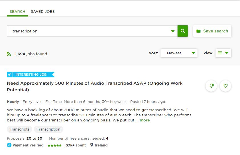transcription jobs